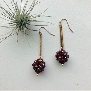 Anthro Raspberry Drop Earrings